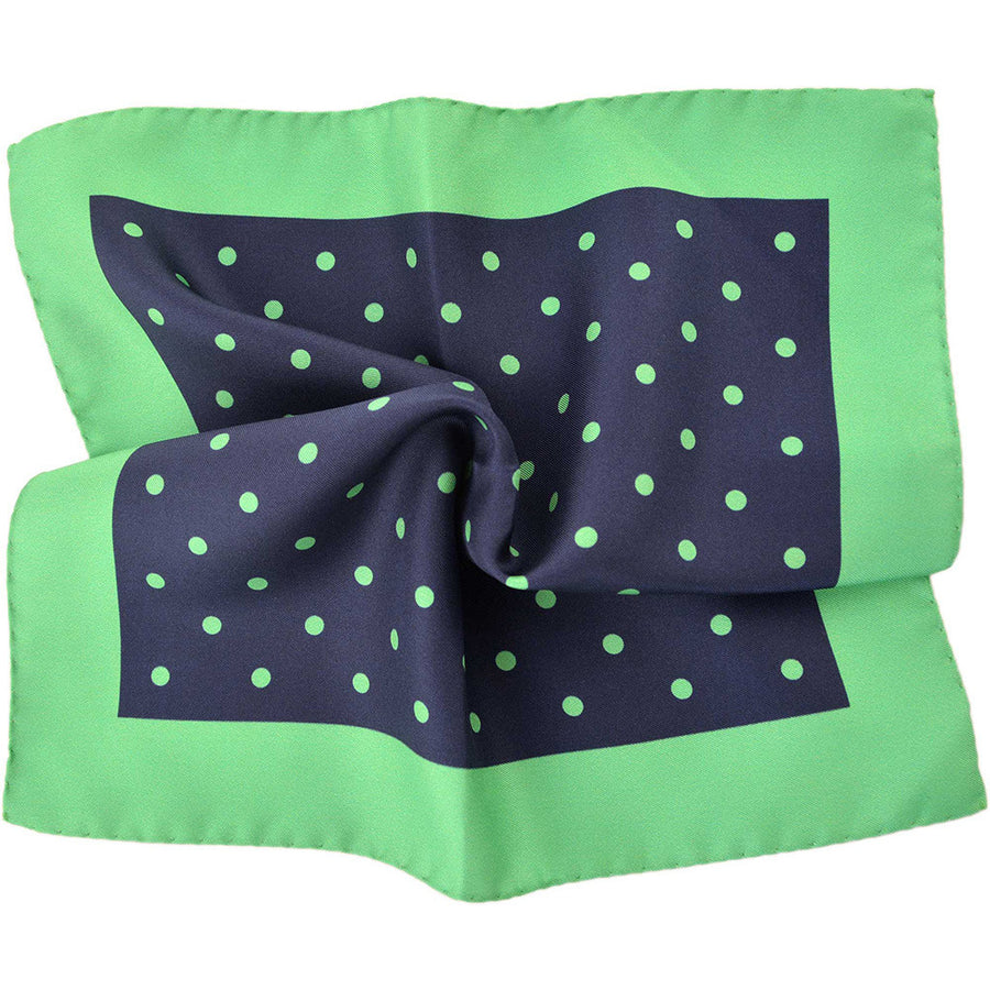 Navy & Green Polka Dot Pocket Square - Beckett & Robb