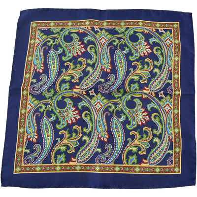 Navy Paisley Pocket Square - Beckett & Robb
