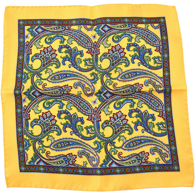 Yellow Paisley Pocket Square - Beckett & Robb