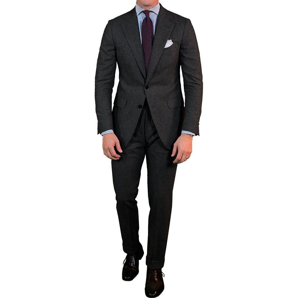 1cd39fa50f Charcoal Grey Flannel Suit - Beckett   Robb