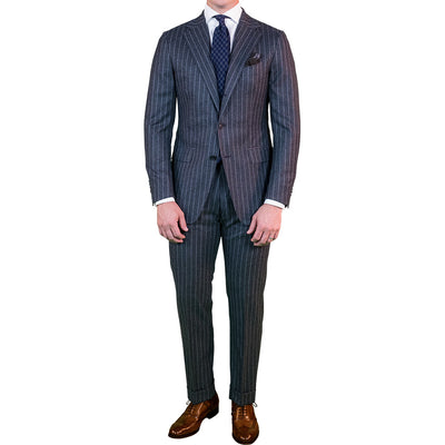 Dark Grey Flannel Chalk Stripe Suit - Beckett & Robb