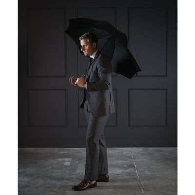 Fox Light Grained Hardwood Tube Umbrella - Black Canopy - Beckett & Robb
