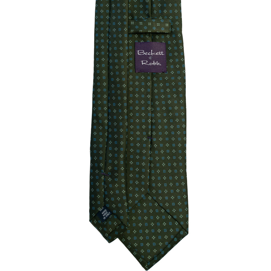 Green & Blue Foulard Silk Tie