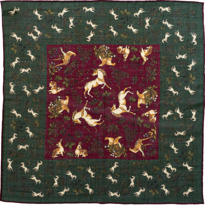 Green Unicorn Print Pocket Square - Beckett & Robb