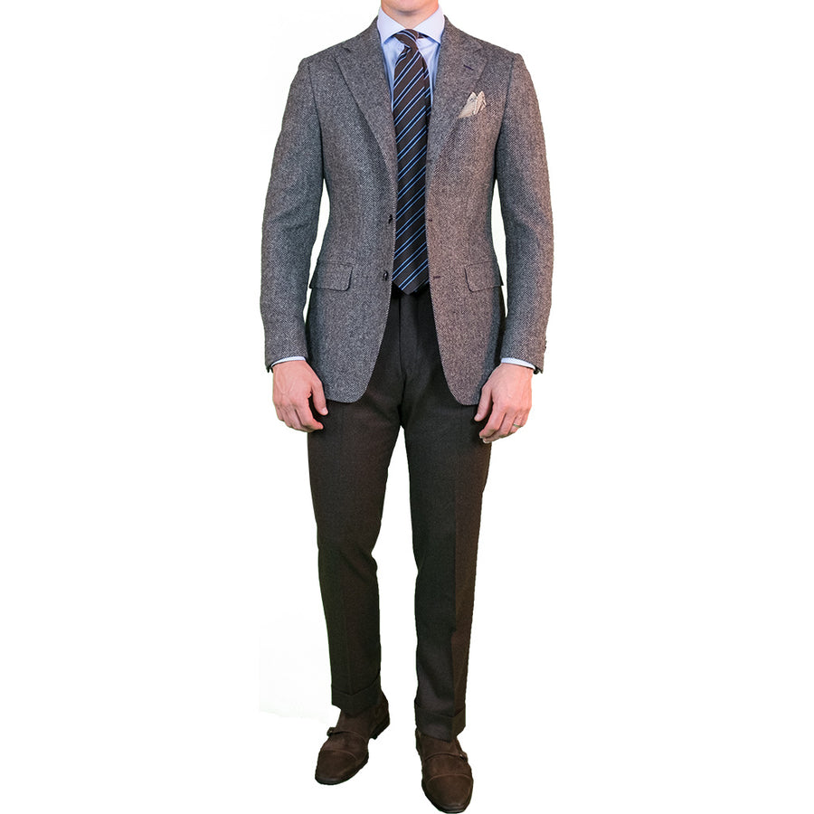 Grey Herringbone Tweed Sport Coat