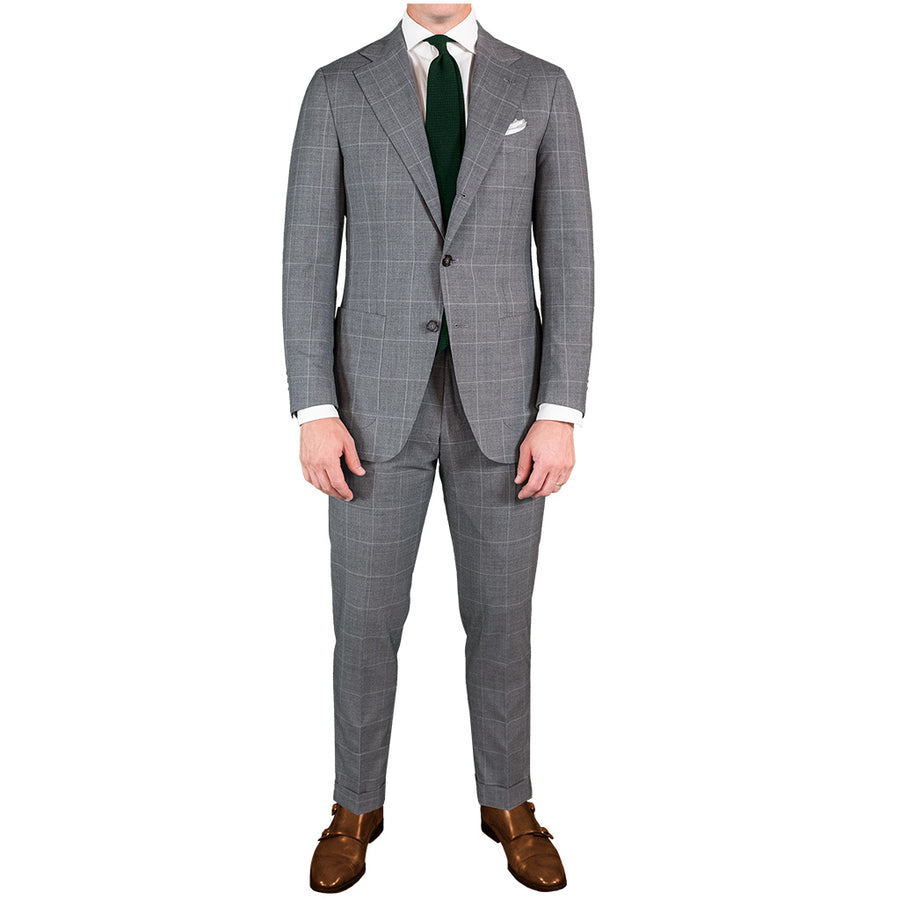 Light Grey Windowpane Suit - Beckett & Robb