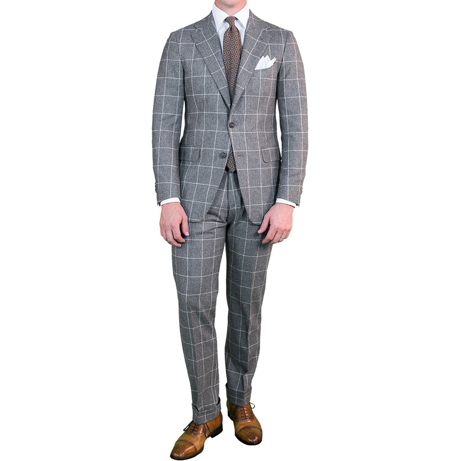 Grey Windowpane Flannel Suit - Beckett & Robb