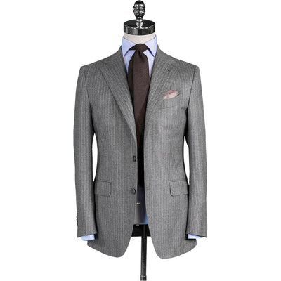 Light Grey Flannel Chalk Stripe Suit - Beckett & Robb