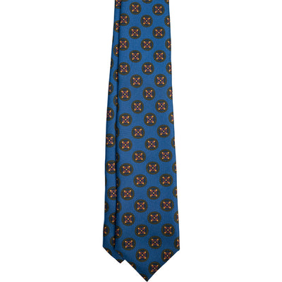 Blue & Red Medallion Silk Tie - Beckett & Robb