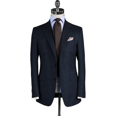 Navy Chalk Stripe Flannel Suit - Beckett & Robb