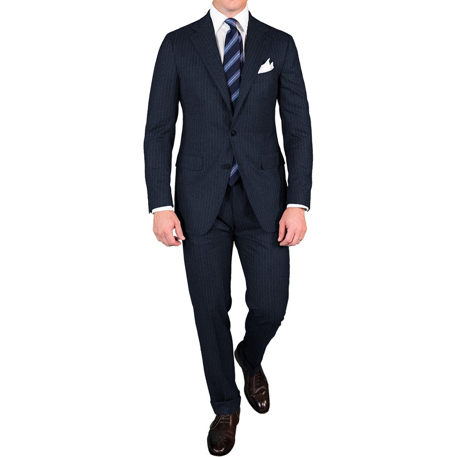 Navy Chalk Stripe Flannel Suit