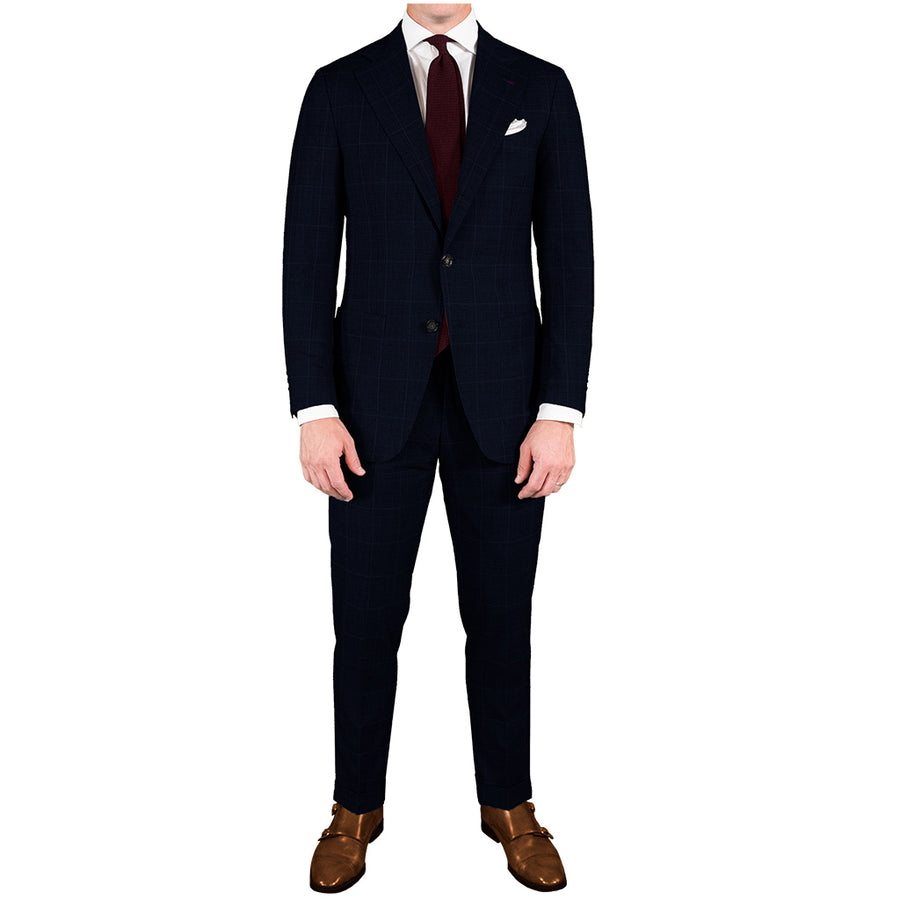Navy Windowpane Suit - Beckett & Robb