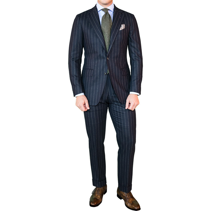 Navy Wide Chalk Stripe Flannel Suit - Beckett & Robb