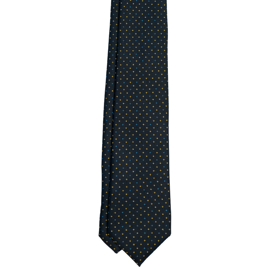 Navy with Yellow & Blue Foulard Silk Tie