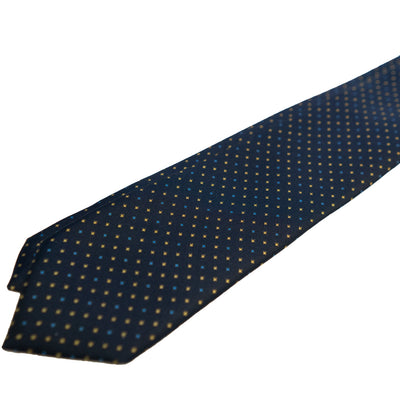 Navy with Yellow & Blue Foulard Silk Tie - Beckett & Robb