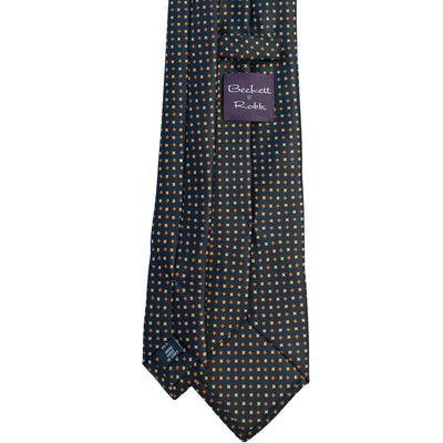 Navy with Orange & Yellow Foulard Silk Tie - Beckett & Robb