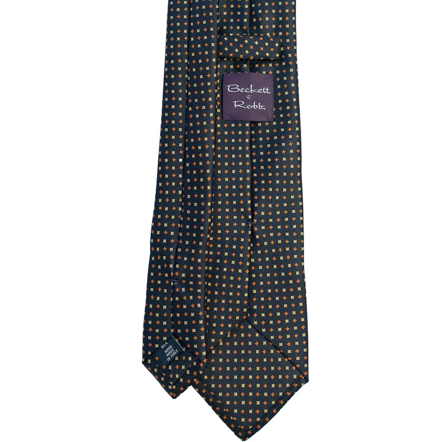 Navy with Orange & Yellow Foulard Silk Tie