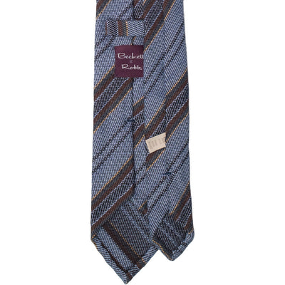 Light Blue Multi-Stripe Wool Tie - Beckett & Robb
