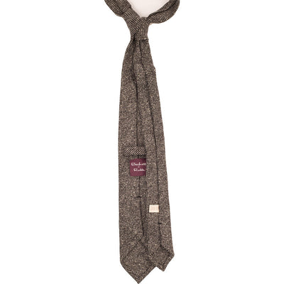 Sand Herringbone Tweed Tie - Beckett & Robb