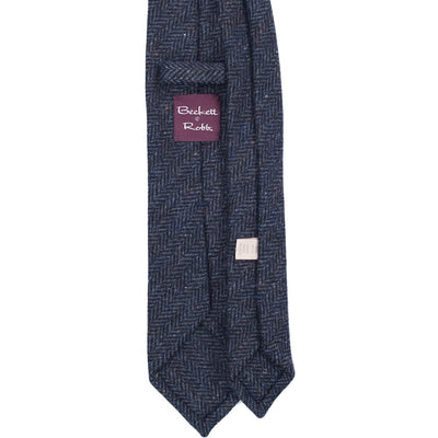 Navy Herringbone Tweed Tie - Beckett & Robb