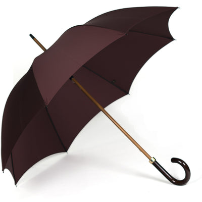 Fox Dark Grained Gloss Maple Stick Umbrella - Bordeaux Canopy - Beckett & Robb