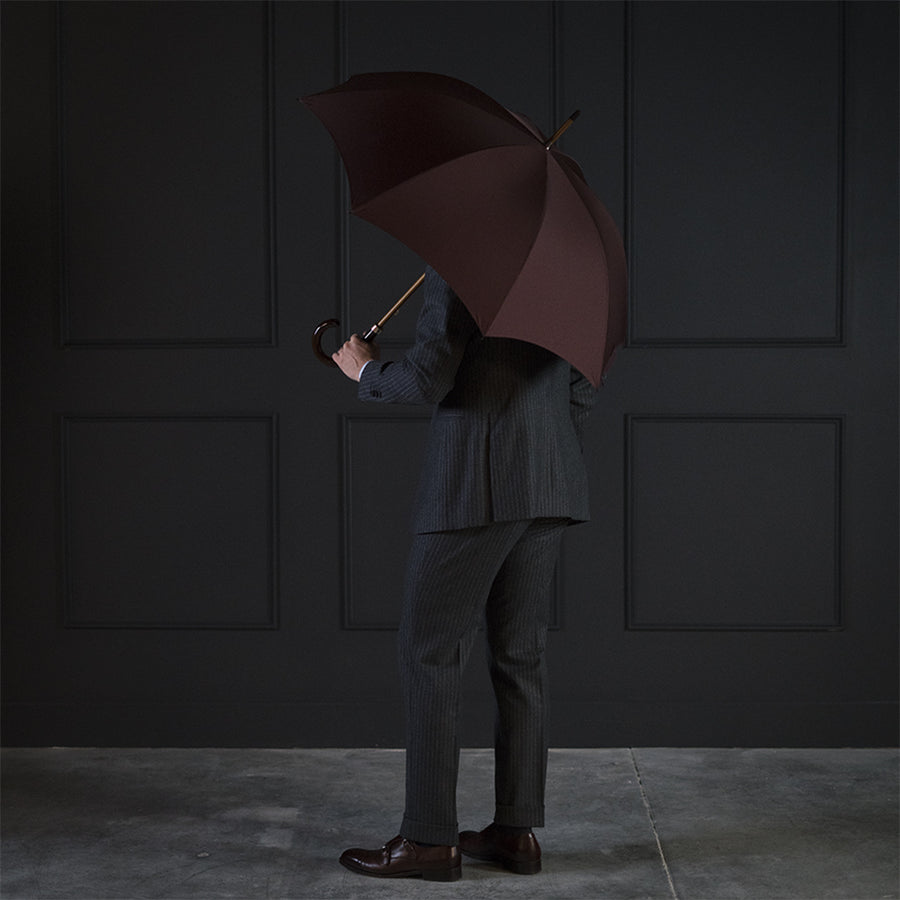 Fox Dark Grained Gloss Maple Stick Umbrella - Bordeaux Canopy