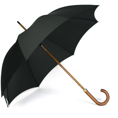Fox Dark Grained Maple Stick Umbrella - Dark Green Canopy - Beckett & Robb