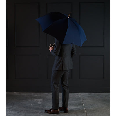 Fox Ash Solid Umbrella - French Navy Canopy - Beckett & Robb