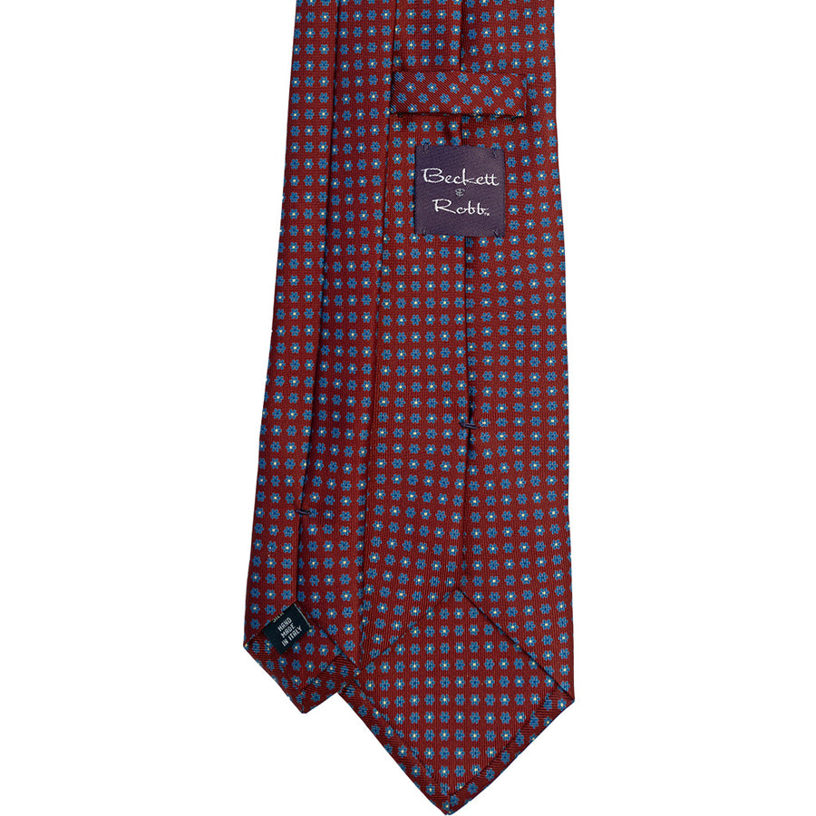 Red & Blue Floral Silk Tie