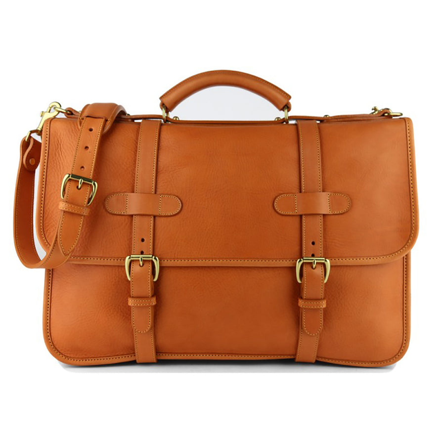 Bound Edge English Briefcase- Tan - Beckett & Robb