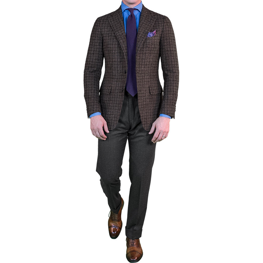 Brown Multi Check Tweed Sport Coat