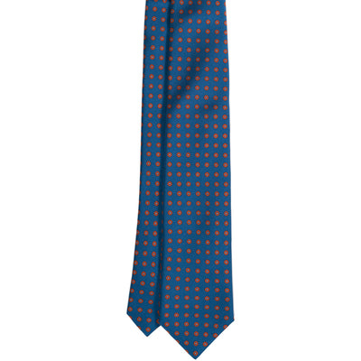 Blue & Orange Geometric Print Silk Tie - Beckett & Robb