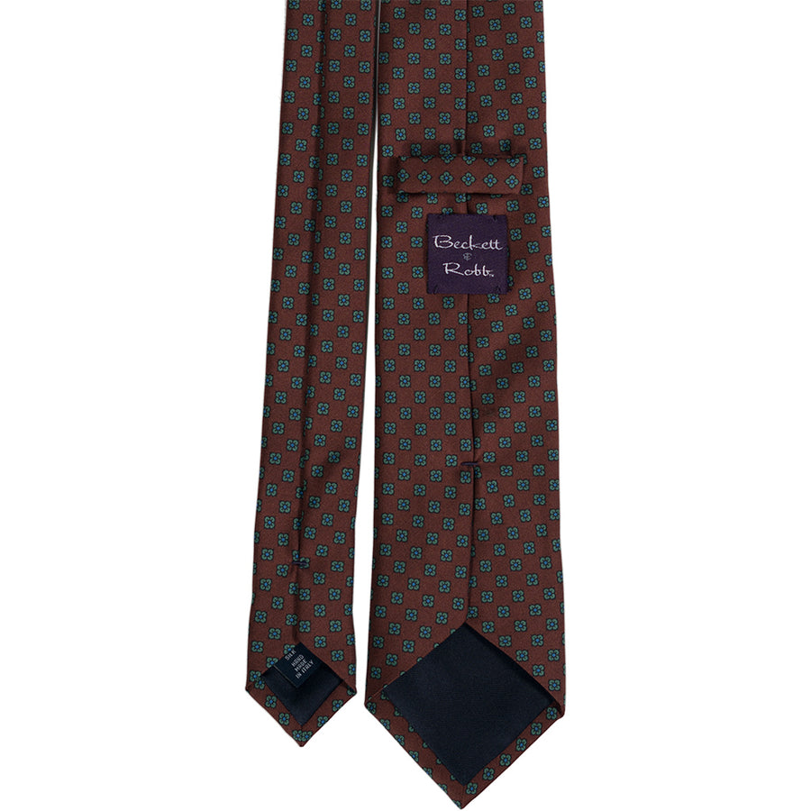 Rust Brown Foulard Silk Tie