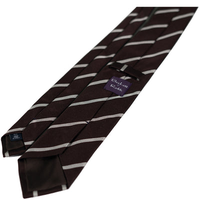 Brown Repp Stripe Silk Tie - Beckett & Robb