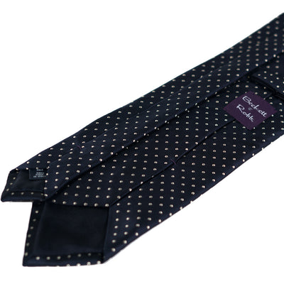 Navy Embroidered Pin Dot Silk Tie - Beckett & Robb