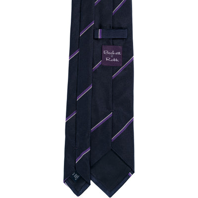 Navy Purple Stripe Silk Tie - Beckett & Robb