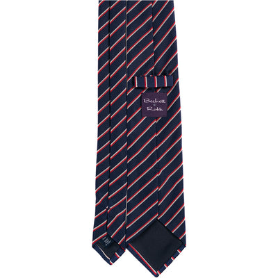 Navy with Red & White Stripe Silk Tie - Beckett & Robb
