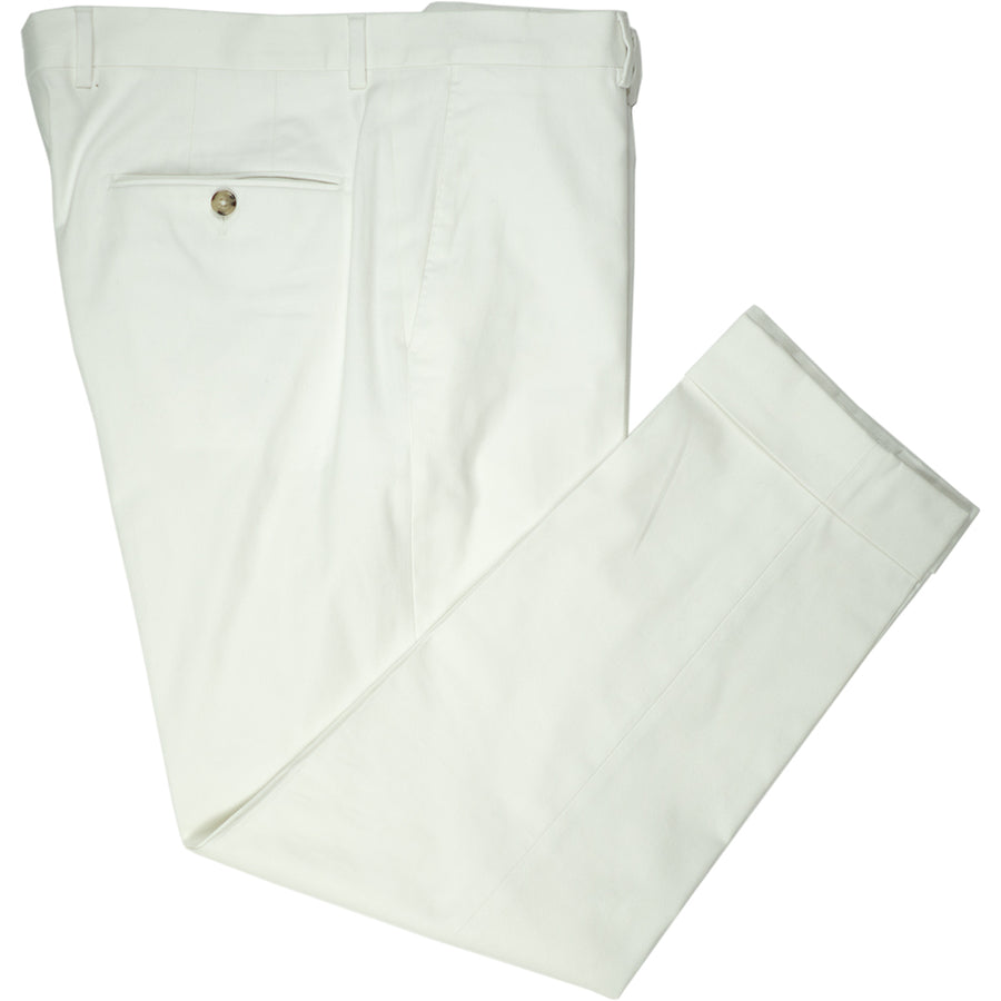 White Cotton Trousers - Beckett & Robb