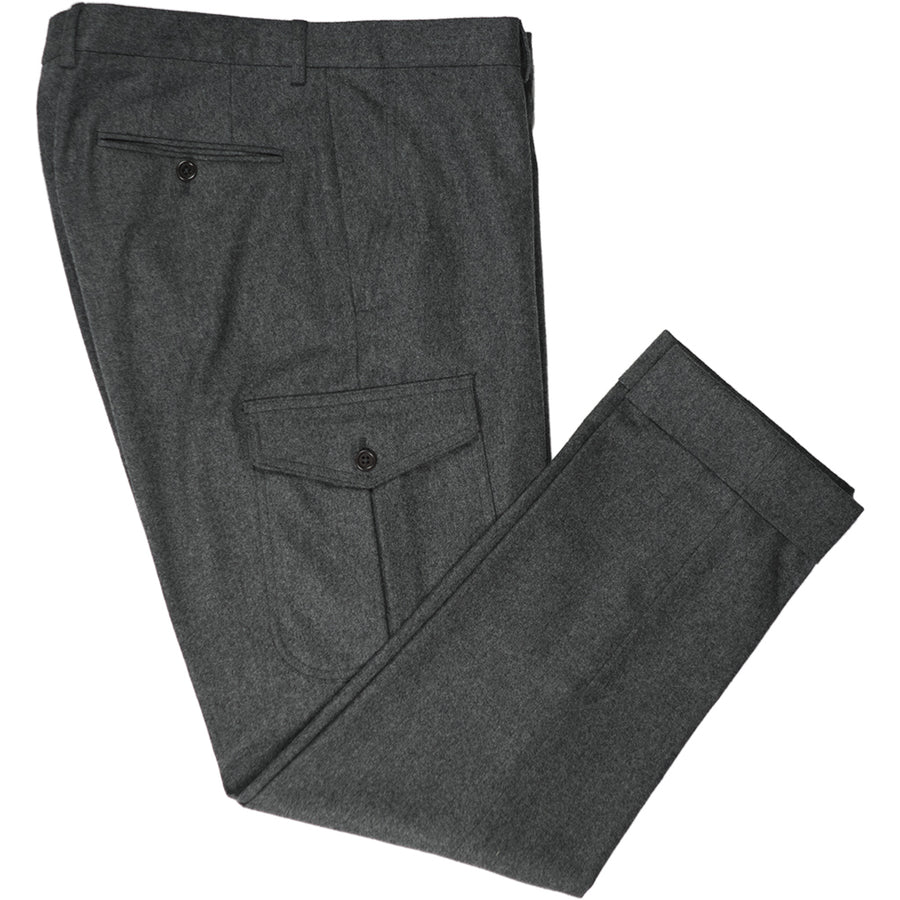 Dark Grey Flannel Cargo Trousers - Beckett & Robb