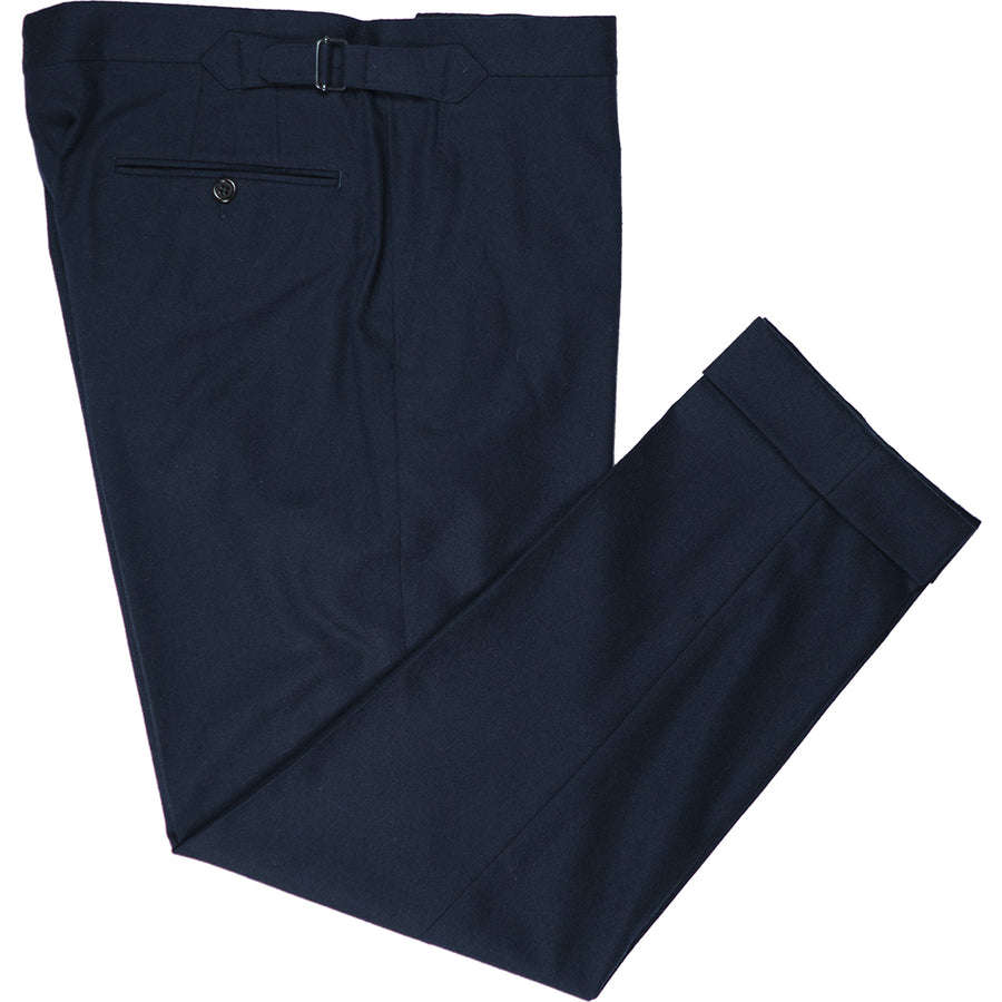 Navy Flannel Trousers - Beckett & Robb