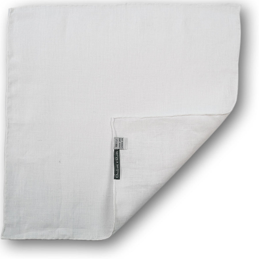 White Hand-Rolled Linen Pocket Square