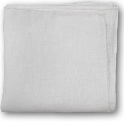 White Hand-Rolled Linen Pocket Square - Beckett & Robb