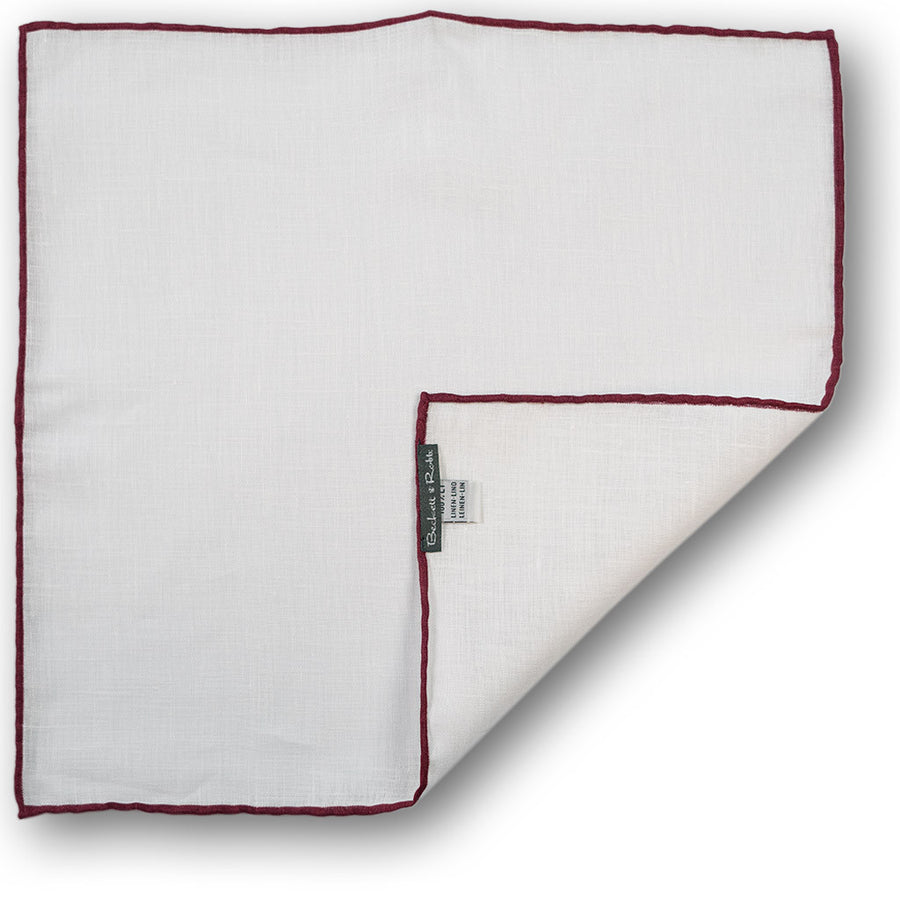 Burgundy Hand-Rolled Linen Pocket Square