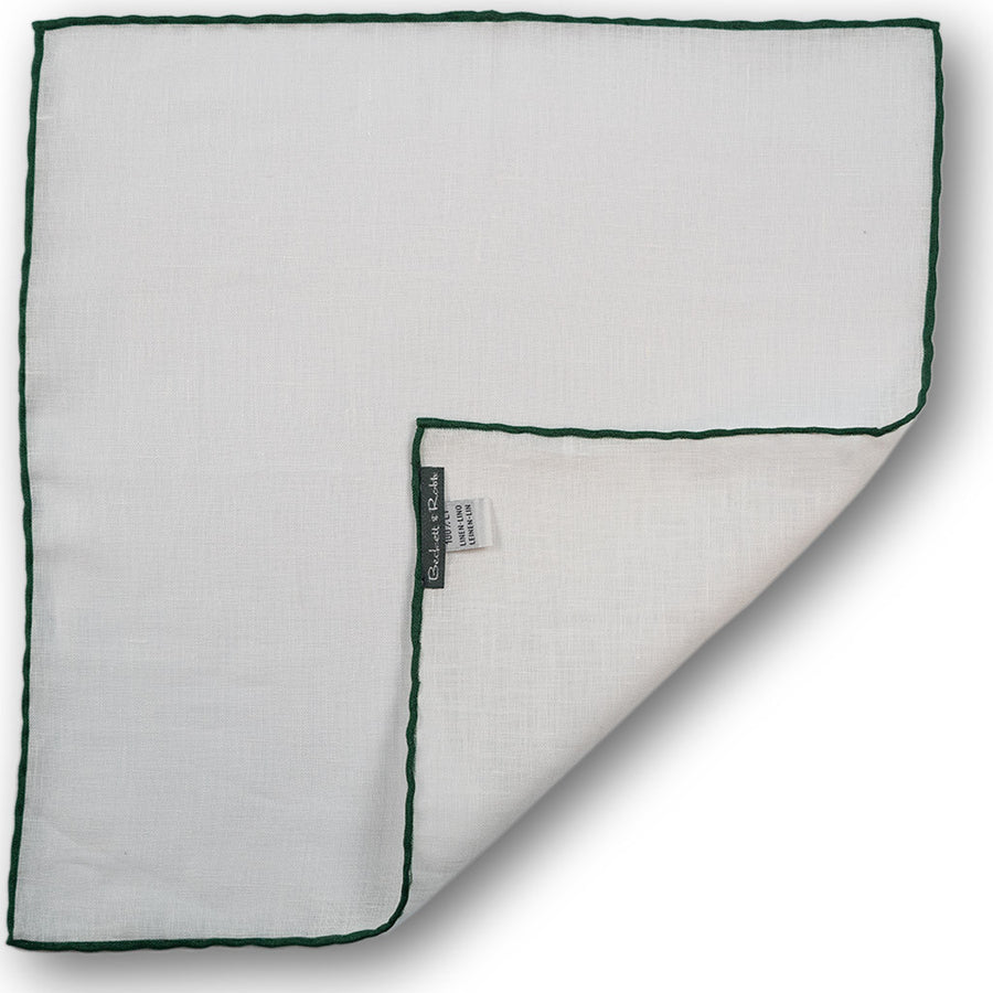 Green Hand-Rolled Linen Pocket Square - Beckett & Robb