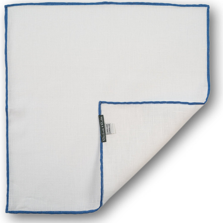 Blue Hand-Rolled Linen Pocket Square