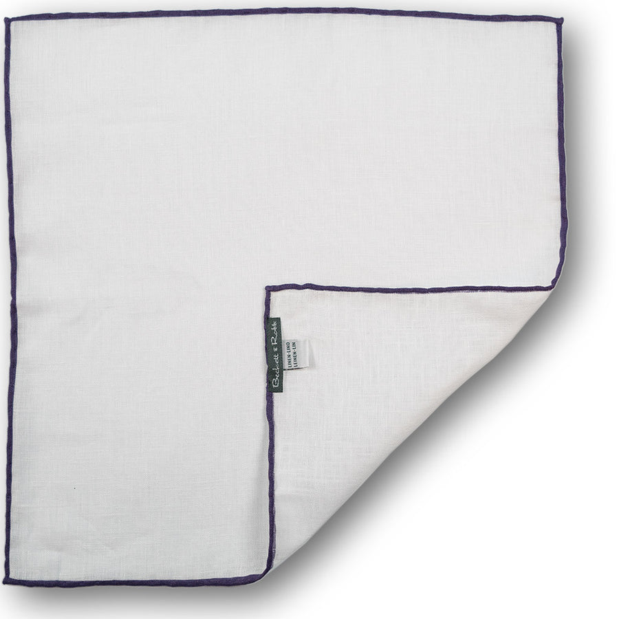 Purple Hand-Rolled Linen Pocket Square