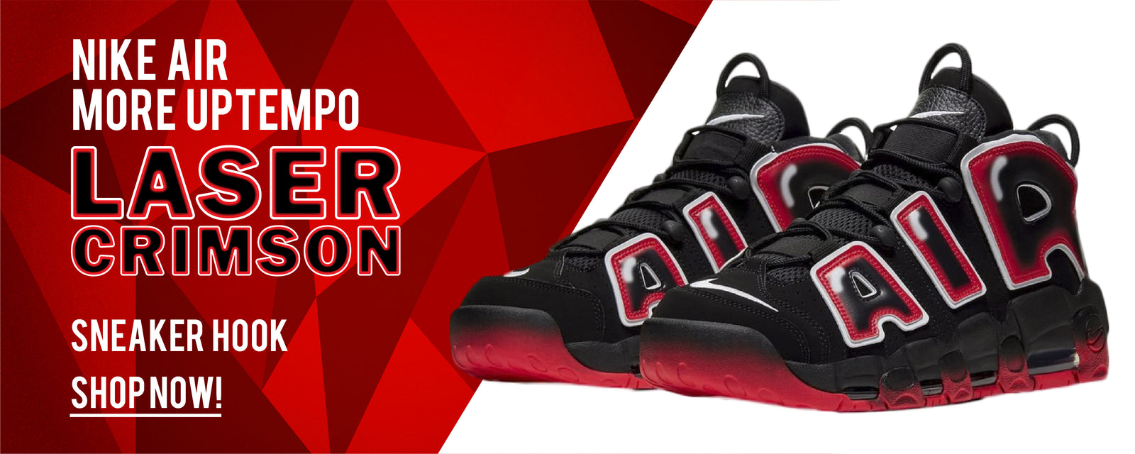Nike Air More Uptempo Laser Crimson Sneaker Hook Up Clothing