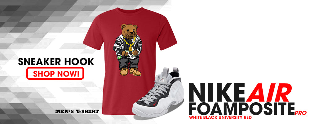 Foamposite Pro White Black University Red T Shirts to match Sneakers | Tees to match Nike Air Foamposite Pro White Black University Red Shoes