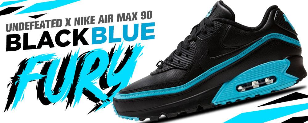 Undefeated x Nike Air Max 90 Black Blue Fury Sneaker Matching Clothing