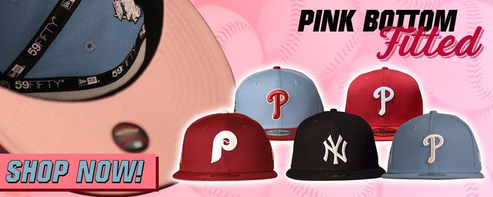 Pink Bottom Fitted Hat | 59Fifty Pink Under Brim Fitted Cap | Fitted Hat